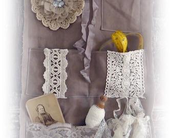 Wall hanging, fabric wall organizer with pockets, mixed media hanging