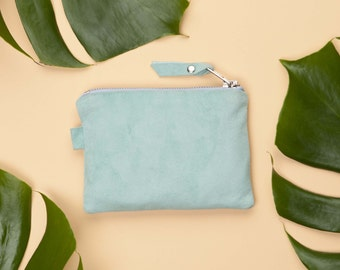 Mint Green Suede Bag // Small Leather Clutch // Leather Cosmetic Bag // Bridesmaid Gift / Suede Pouch // Suede Clutch // Guft for Mom