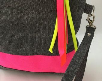Neon Clutch. Grey canvas fluorescent pink stripe.Handle clutch purse.Fun pop neon pouch.Neon pink and grey cotton and linen zipper pouch