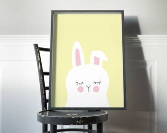 white bunny rabbit kids art print // girls room art print // kids wall art // baby girl print // yellow and  white bunny rabbit illustration