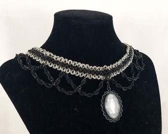 Black and Silver Chainmaille Choker