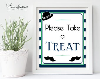 Little Man Baby Shower Sign. Mustache Baby Shower Decorations. Boy Baby Shower. Neutral Baby Shower. Baby Shower Please take a treat Sign