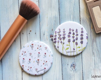 FLOWERS MIRROR, lavender mirror, small mirror, pocket mirror, watercolor flower, floral mirror, hand mirror, flower pattern