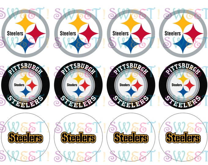 Edible Pittsburgh Steelers Cupcake, Cookie or Oreo Toppers - Wafer Paper or Frosting Sheet
