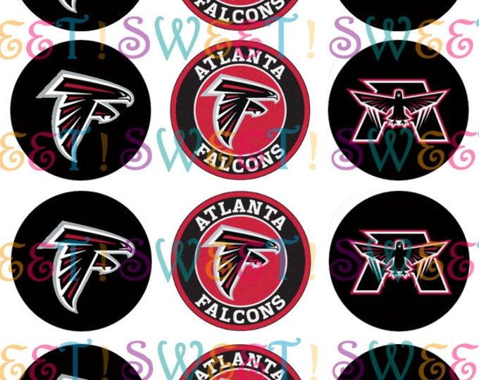 Edible Atlanta Falcons Cupcake, Cookie or Oreo Toppers - Wafer Paper or Frosting Sheet