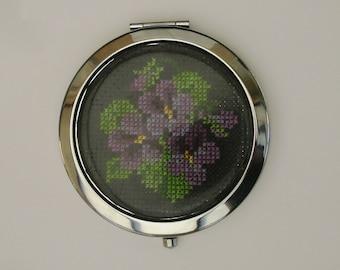 Bag or Pocket embroidered violets hand mirror