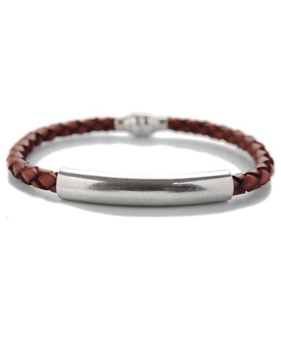 Mens Leather Bar Bracelet in Black or Brown