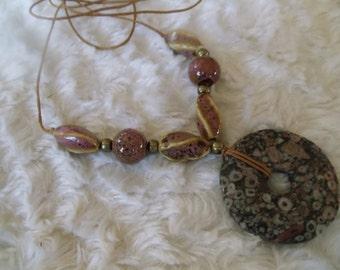 Jasper Turritella donut with handmade ceramic beads hippie ethnic