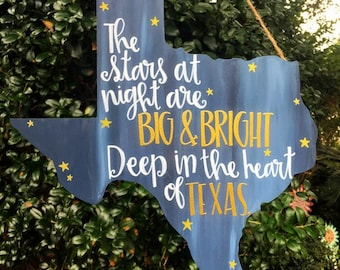 Deep In the Heart of Texas | Hanging Wooden Wall Art | Texas Pride Signage