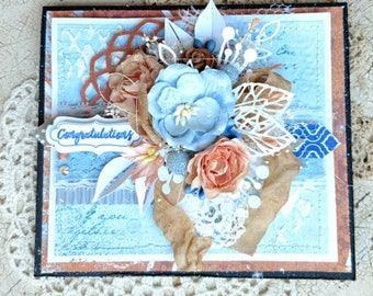 Beautiful Handmade Blue and Peach Shabby Chic Congratulations Greeting Card #WC2016S