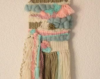 Weaving, woven hanging soft pink blue, Bohemian bead weaving, Bohemian pendant
