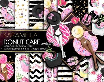 Donuts Digital Paper Summer Digital Paper Beach Fashion Illustrations Geometric Seamless Patterns Pink Black Glitter Planner Stickers DIY