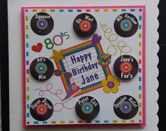 Personalised 80's Themed Birthday Card - Daughter, Sister, Friend, Niece, 1980's Music