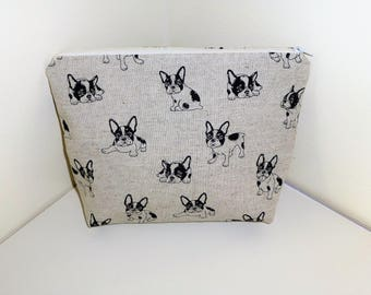 French Bulldog Make up Bag, French Bull Dog Coin Purse, Boston Terriers Make Up Bags, Frenchie Cosmetics Bags, Frenchie Lovers, Gift for her