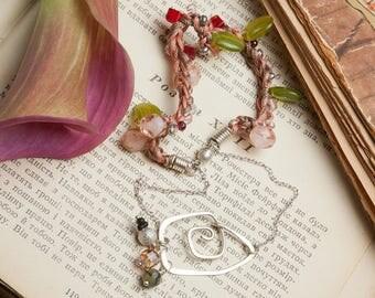 Pastel jewelry, gemstone knitted bracelet, multistrand bracelet, salmon pink bracelet, gift for daughter, multicolor beads bracelet, boho