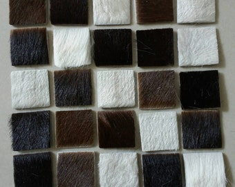 Hair on Cow Hide Leather Squares, 20 mm.(2 cm.) Wide,  Leather Squares Die Cut, DIY Projects.
