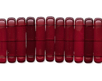 Red Spacer Bars, Czech Pressed Glass, Garnet Red Glass, 3 Strand Spacer, 21x5mm 4 each, D981