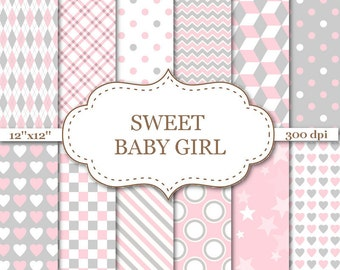Pink and Gray Baby Girl digital paper backgrounds New baby digital paper Newborn backgrounds with Heart Stripe Polka Dot Star Patterns #P023