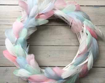 Whimsical pastel feather Christmas wreath