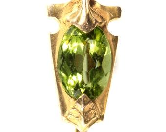 Stick pin stickpin gold Peridot vintage antique | 14 kt  | Victorian | Egyptian revival | Art Nouveau |  | Walton & Co. | circa 1900