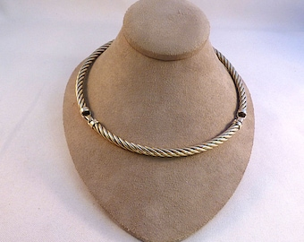 Flli Menegatti Sterling Hinged Cable Twist Choker Necklace-15""