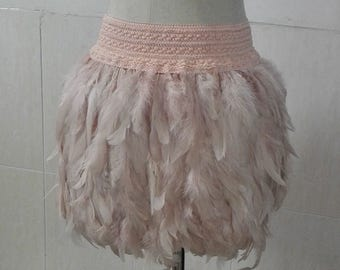 13.78 inches(35cm) rooster coque feather mini skirt with wide elastic waistband #SKT17003LP