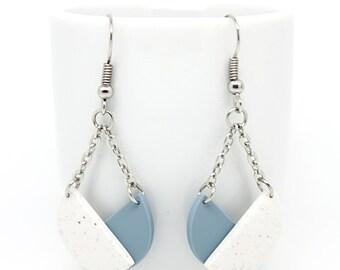 Minimal geometric earrings, clay earrings, chain earrings, modern minimalist jewelry, geometric jewelry, gift for her.