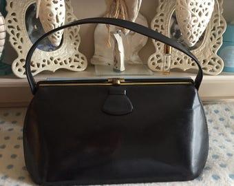 1930s black leather handbag