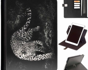 Black and white leopard Luxury Apple ipad 360 swivel i pad leather case cover with card slots