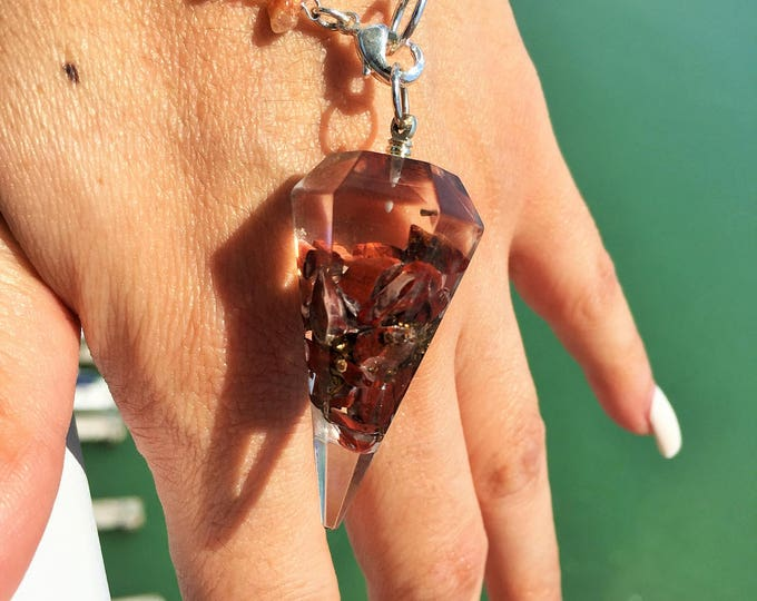 Red Jasper Organite Chakra Pendulum infused w/ Love and Reiki