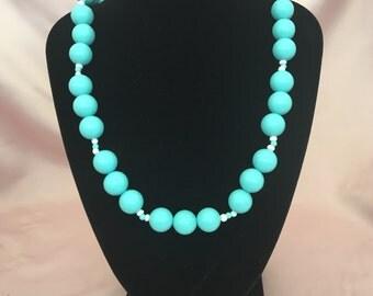 Vintage Tiffany Blue Beaded Necklace