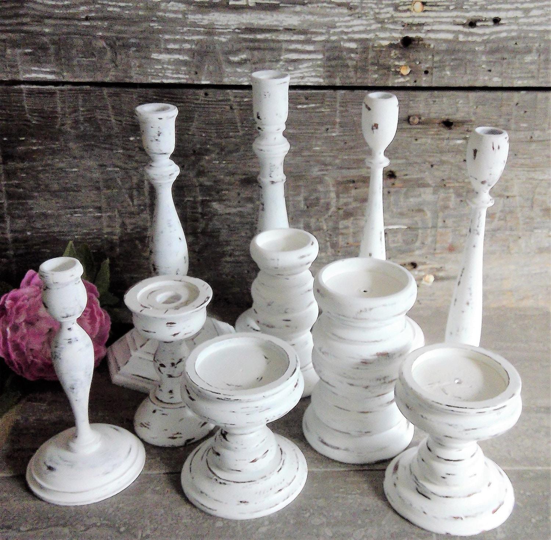 White Shabby Candle Holders Set of 10 Vintage Wood Pillar