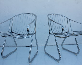 Gastone Rinaldi  Italian Tubular Chrome Accent Dining Chairs A Pair .