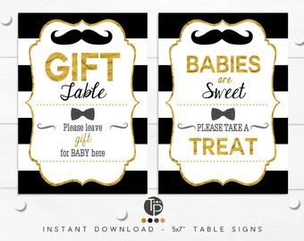 Little Man GIFT TABLE SIGN, Boy Baby Shower Signs, Black and Gold Little Man Baby Shower, Boy Baby Shower, Instant Download, Favor Sign