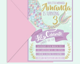 Printable Mermaid Invitation - Mermaid Birthday - Teal Purple Gold Pink - Mermaid Invite - Under The Sea Invitation - Mermaid Party - Custom