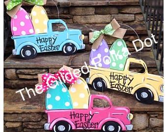 Easter Truck Door Hanger, FAST SHIP, Easter Door Hanger, Spring Door Hanger, Easter wreath
