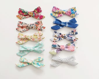 Hand tied bows // school girl bow / nude nylon band or alligator clip / floral school girl bow / school girl clip