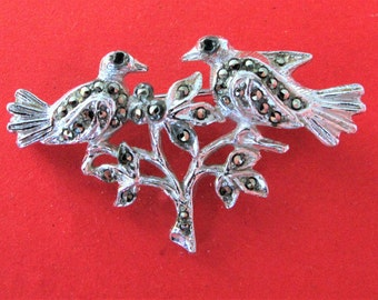 Sweet Vintage Marcasite Lovebirds on Branch Brooch