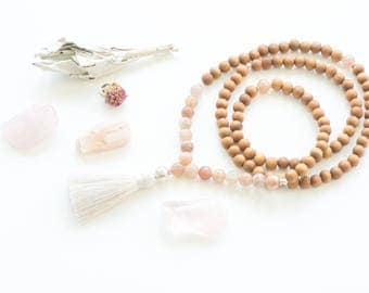 Moonstone mala necklace, 108 mala, Minimalist mala, Bohemian mala, Meditation mala necklace, Yoga mala gift, Sandalwood mala, Mala necklace