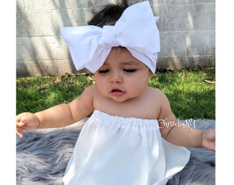 White Headwrap, Baby Headwrap,  Fabric Head Wrap, Newborn Head Wraps, Toddler Headwraps, Turban Headwraps, White Headbad, baptism headwrap