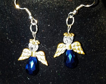 Christmas Angel Earrings - Blue and Gold