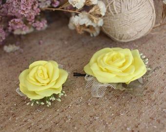 Yellow rose hair pin,Wedding hair clip,Bridal Bridesmaid Hair bobby Pin,Lemon Yellow Flower hair pin,Woman girl hair pin,Bridal Hair Piece