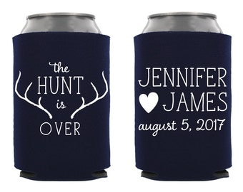 The Hunt is Over Wedding Can Cooler, Personalized Wedding Can Cooler, Custom Wedding Can Cooler, The Hunt is Over Can Cooler, Wedding Favor