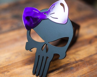 Punisher Trailer Hitch Cover - Purple Bow