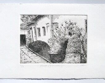 House (garden) - etching