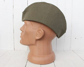 Vintage garrison cap Soviet Army Soldier hat Military cap Soviet pilotka Military uniform Russian army hat Soviet Red Army headgear
