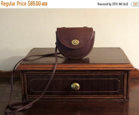Football Days Sale Coach Brown (Mocha ?) Leather Mini Belt Bag Cross Body Shoulder # 9826- Made in U.S.A - Very Good Condition