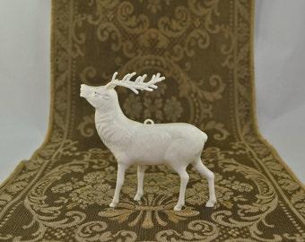 Vintage Mid Century Hard Plastic White Reindeer
