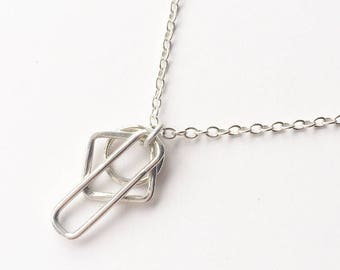 LINEAR NECKLACE - Sterling Silver Geometric Pendant with Chain - Silver Circle Diamond and Retangle Pendant Necklace