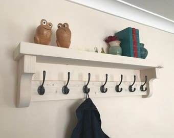 Coat hook rack with shelf, Handcrafted from chunky premium quality pine.